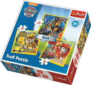 Puzzle Paw Patrol Chase, Marshal, Rubble 3v1